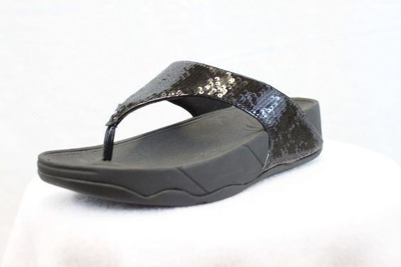 FitFlop Fit Flops Electra Super Black Sequin Toning Comfort Flip NEW FREE SHIP #FitFlop #FlipFlops