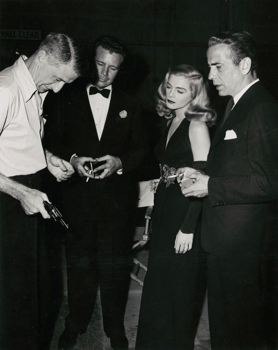 John Cromwell, Dick Powell, Lisabeth Scott and Humphrey Bogart