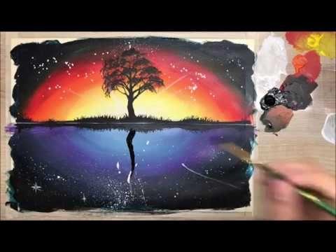 Ep 49 สอนวาด ต นไม ตอนเย น และ กลางค น A Tree In The Evening And At N กลางค น ม วง