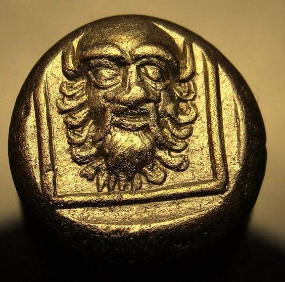 Enigmatic SATYR. SILENUS.THE BEST SPECIMEN.Very rare Ancient Greek Gold el.Coin