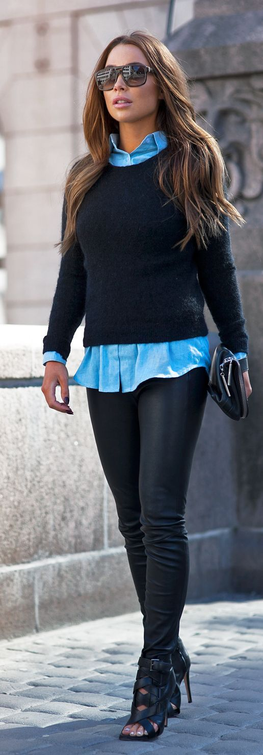 Black And Blue Outfit Idea