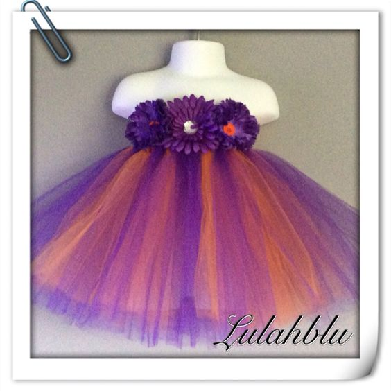 Baby girls flower tutu in purple and orange from lulahblu.co.uk
