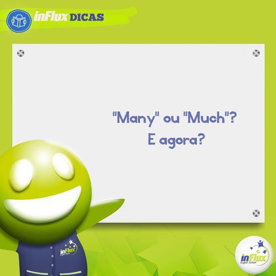 """Você tem dúvidas na hora de usar """"many"""" e """"much""""? Então esta dica é para você! Que tal aprender o jeito certo de uma maneira mais fácil? http://goo.gl/5sdi21"""