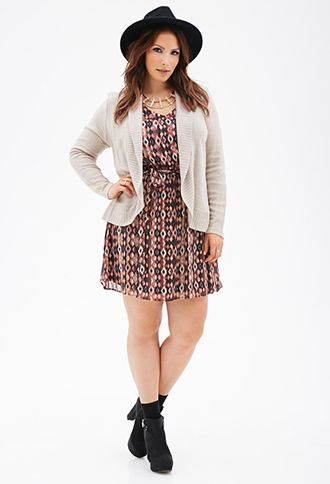 Open-Front Cardigan | FOREVER21 PLUS - 2000101268. Eggplant 1X:
