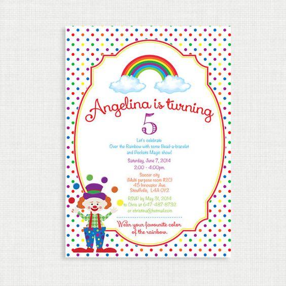 Printable Birthday Invitation Rainbow Birthday Invitation Clown – Clown Birthday Party Invitations