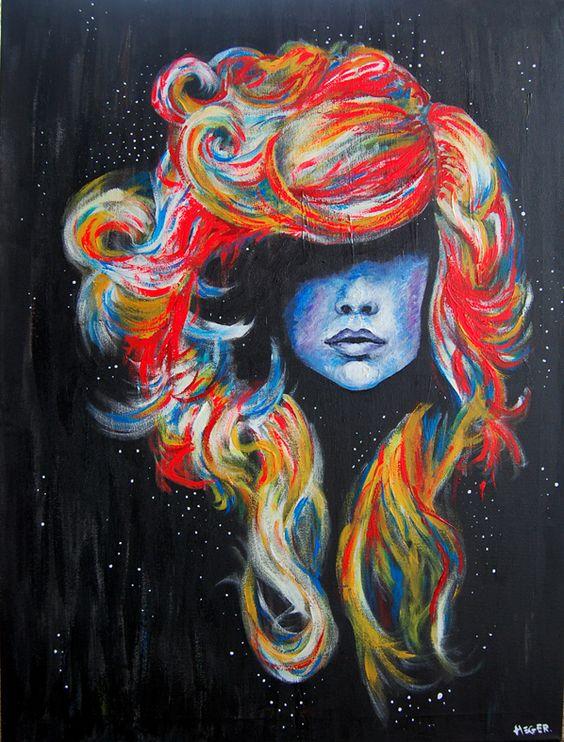 artiste inconnu. la technique serait de la peinture je ne sais pas quel sorte mais j'aime beaucoup les couleurs choisi et ses cheveux comme il sont fait. La texture des cheveux et bien réussi et la proportion du visage aussi. Quand j'ai vu cette oeuvre jai senti de la tristesse pusique les yeux de la femme sur cette oeuvre son couvert par ses cheveux.