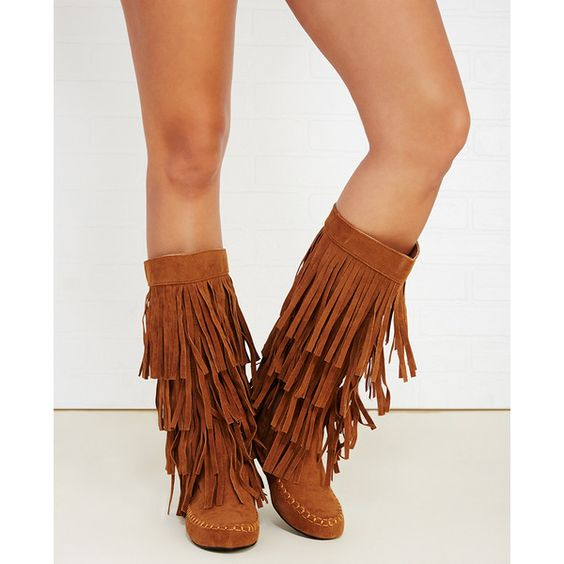 Yoki Shoes Fringe Tiered Tall Moccasin Boots ($40) ❤ liked on ...