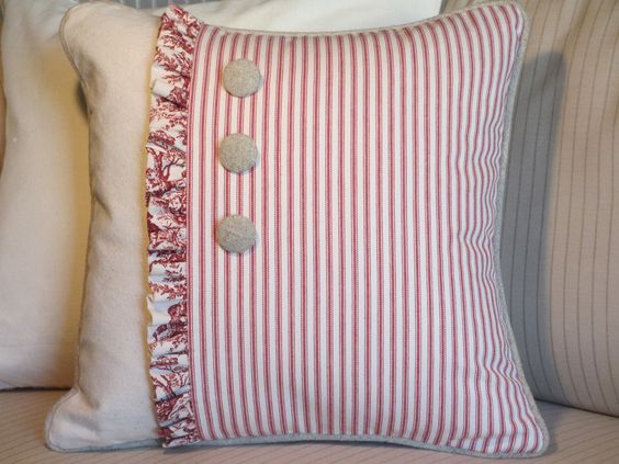 Toile and Ticking Red and White Shabby Chic by ComfortsofHomeDecor, $48.00