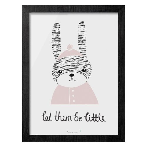"""Too Cute! """"Let them be little"""" Bunny print Framed Size 20x30cm"""