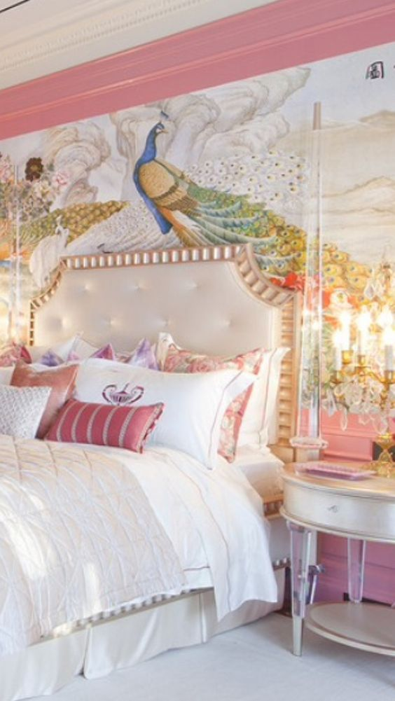 I adore this room it s a fantasy room pink pinterest beautiful painted walls and girls - Girls bedroom ideas a must have for one and all ...