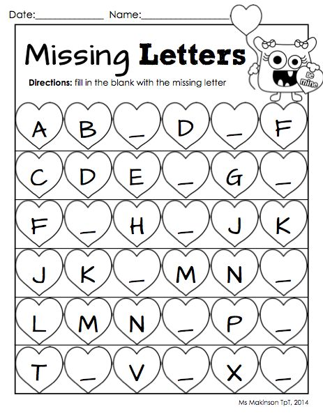 Worksheets Alphabet Worksheets For Kids activities for kindergarten thanksgiving and remember this on february printable packet literacy math missing letter worksheet valentines