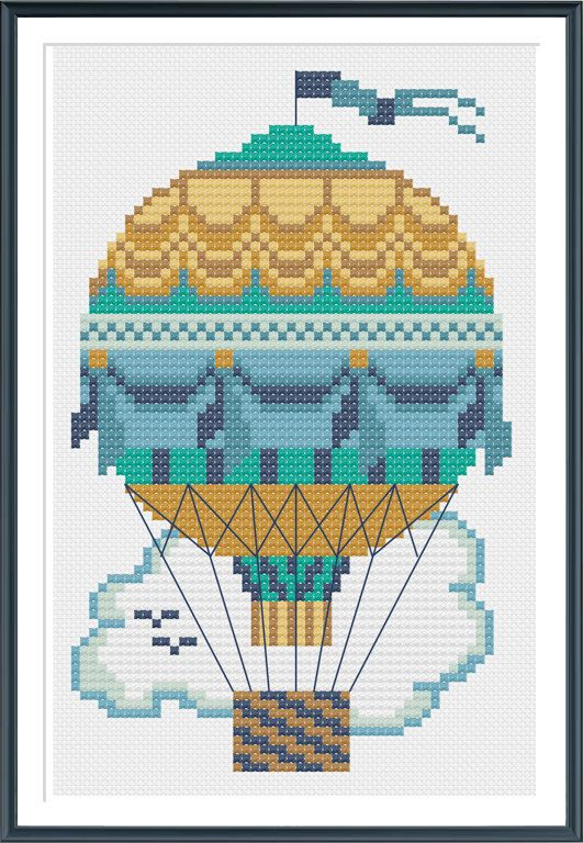 Teal Hot Air Balloon Cross Stitch Pattern Instant by tinymodernist