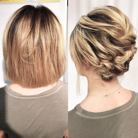 Today in Philly I demonstrated how short hair can go up in just minutes using only pins! No curling iron needed. (This is the same person in different lighting).