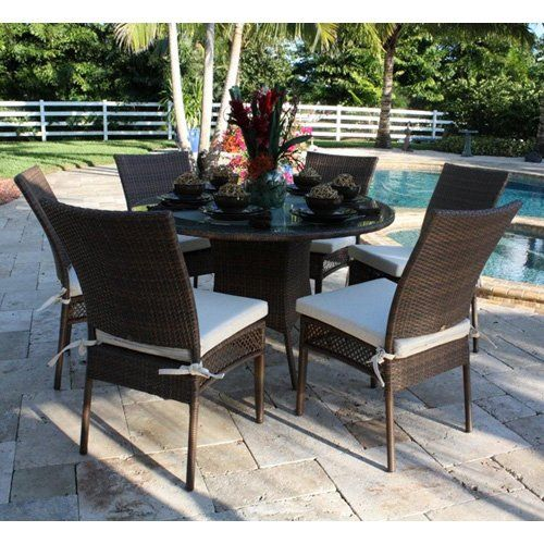 Hospitality Rattan Grenada 7 Piece Round Patio Dining Set - Viro Fiber Antique Brown with Tempered Glass - Seats 6 $1750.00