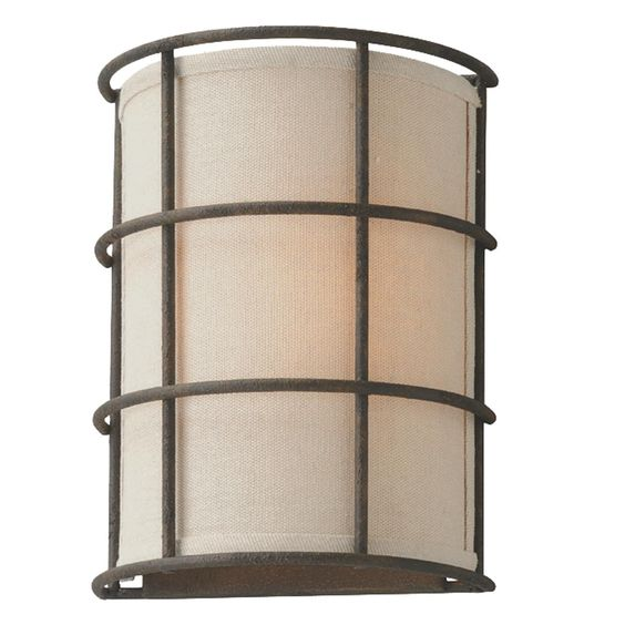 Wall Sconces With Linen Shades : Caged Linen Cylinder Shade Sconce Simple style, Foyers and Linens