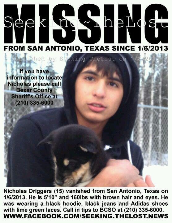 1/6/2013: Nicholas Driggers, 15, Missing From San Antonio