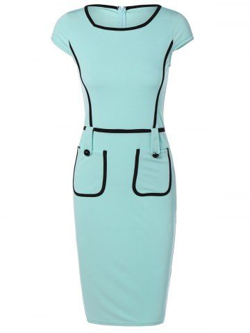 Cape Sleeve Pocket Spliced Pencil Dress - TURQUOISE L Mobile