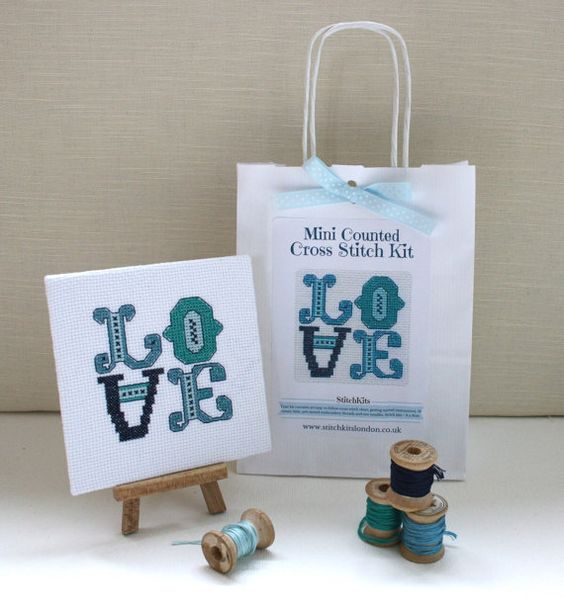 Mini Cross Stitch Kit. Love in Ocean Blue's. by StitchKits on Etsy