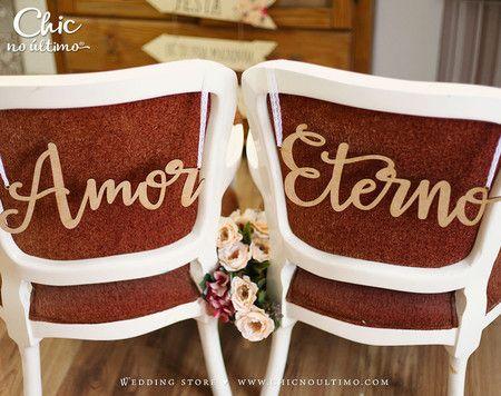 Placa Cadeira Noivos Madeira Amor Eterno - CHIC no Último