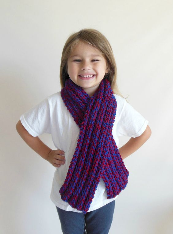 Chunky Double Knit Scarf Toddler/Child Size in Blue