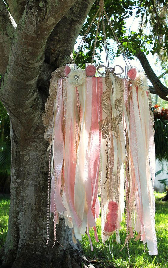 I wish I had somewhere to hang this at my wedding. https://www.etsy.com/listing/210233836/pink-chandelierribbon-chandelierwedding