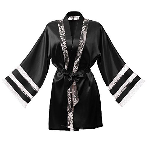 Dresstells Damen Nachtwäsche Morgenmantel Kimono mit Spitze Negligee Black M