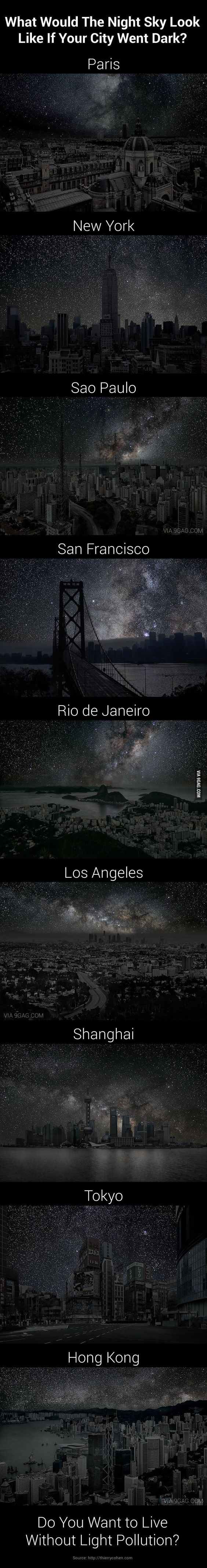 9 Amazing Night Sky of 9 Darkened Cities by thierrycohen via 9gag #Night_Sky #Light_Pollution