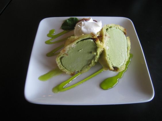 Green tea tempura fried ice cream. So good!!!