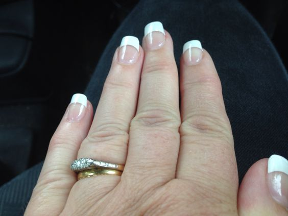 Salon acrylic tips.gel nails. French manicure