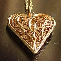 Gold plated necklace, 'Heart of Lace'
