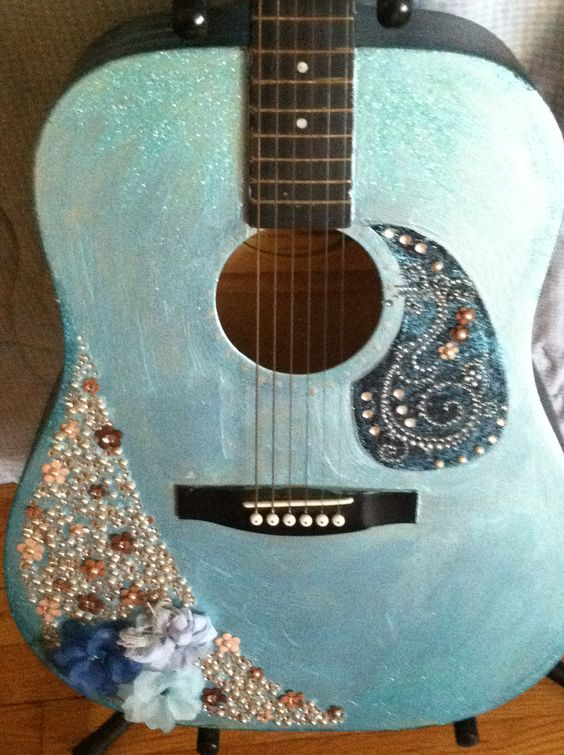 Hand painted and embellished acoustic guitar by SymfoniAja on Etsy