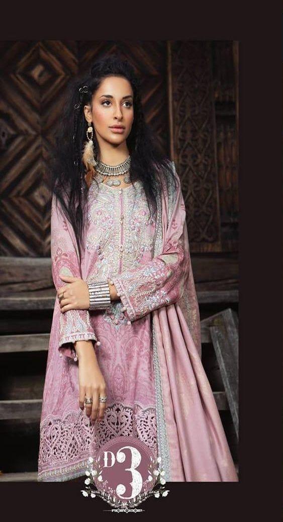 Maria b.Winter Khaddar  Embroidered stitched pakistani indian suit wool shawl