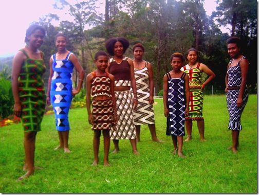 Bilum dresses.  Nalbinding in colorful patterns.
