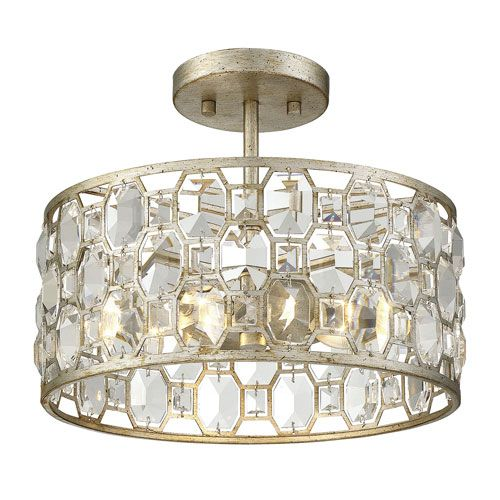 251 First Vivian Silver Gold Two Light Semi Flush Mount With Crystal Accents Bellacor Flush Lighting Flush Mount Lighting Flush Mount Ceiling Lights