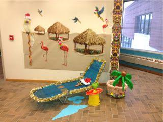 the pursuit of happiness surfing santa hawaiian office christmas decorations beach office decor