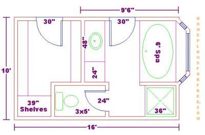 Master Bath Floor Plans With Dimensions Bathroom Design 10x16 Size Free