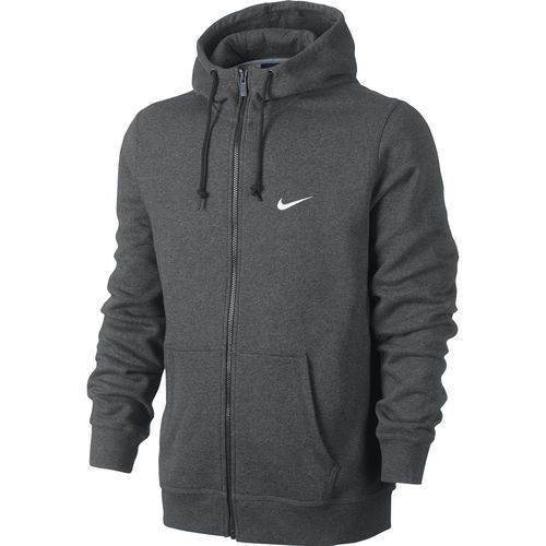 New Nike Mens Club Swoosh Charcoal Gray Full Zip Up Hoodie Jacket Size Medium Nike Hoodie Hoodies Men Nike Outfits Mens Sweatshirts