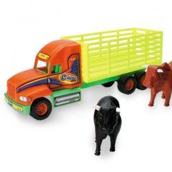 Camión torton con dos toros