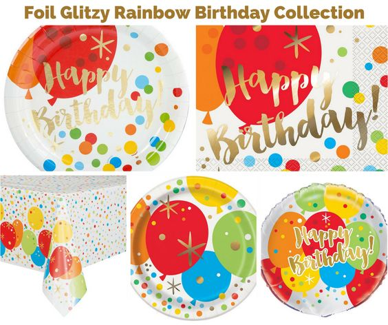 Foil Glitzy Rainbow Birthday Party