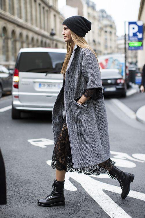 Shop this look on Lookastic:  http://lookastic.com/women/looks/black-beanie-black-boots-black-midi-dress-grey-coat/6366  — Black Beanie  — Black Leather Boots  — Black Lace Midi Dress  — Grey Herringbone Coat