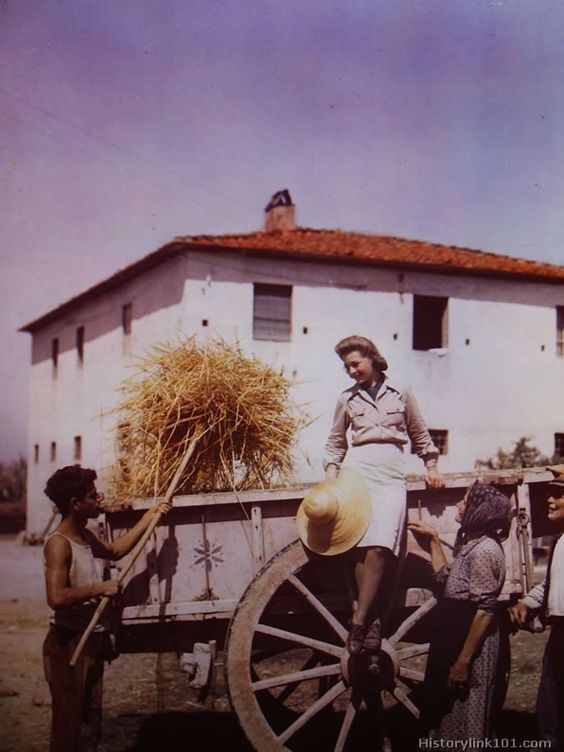 """A venerable ox-drawn farm cart provides a colorful background for the American WAC """"farmerette"""" who spends her playtime roaming the Italian farm lands just to the rear of her front line headquarters. This is typical of the Italian families who were left to harvest Italian crops when the German hordes retreated north. They are the two men and a woman standing beside the cart."""