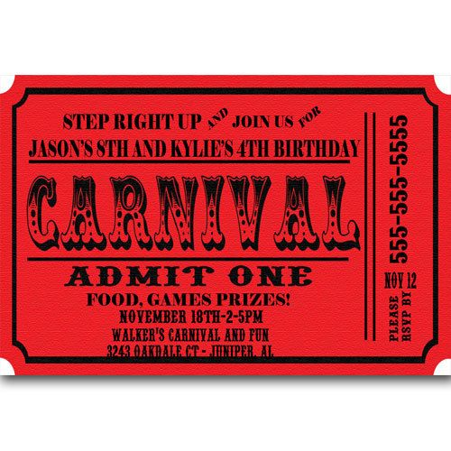 Carnival Ticket Birthday Party Invitations Announcement Digital - admit one ticket template