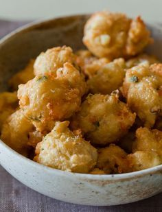 shrimp fritters with a spicy honey drizzle (spoonforkbacon)