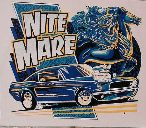 Nite Mare Pony Car Hot Rod Custom Mens Quality T Shirt