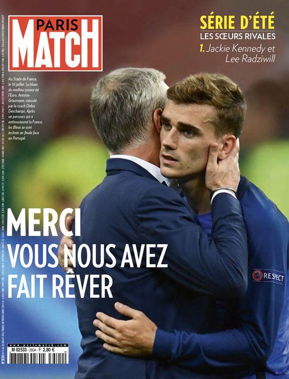 Paris Match retrace le parcours de l'équipe de France à travers ceux qui ont marqué l'Euro 2016: Dimitri Payet, Antoine Griezmann, Didier Deschamps mais aussi Ronaldo, le héros blessé mais heureux.