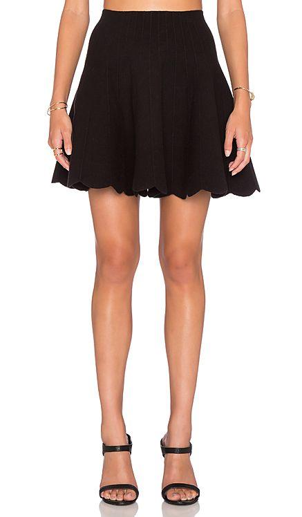 J.O.A. Scallop Hem Skirt in Black   REVOLVE