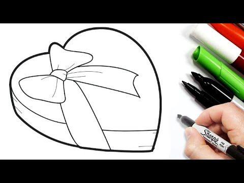 رسم سهل طريقة رسم علبة هدايا على شكل قلب تعليم الرسم للاطفال رسومات بالرصاص تعلم الرسم