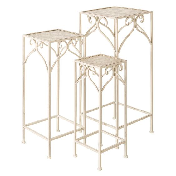 Este set de mesitas lo encontrarás de #oferta a 59,99€ hoy en  #home #hogar #estilo #deco #decoración http://hogaresconestilo.com/producto/s3-mesitas-crema-metal-jardin-28-x-28-x-70-cm/