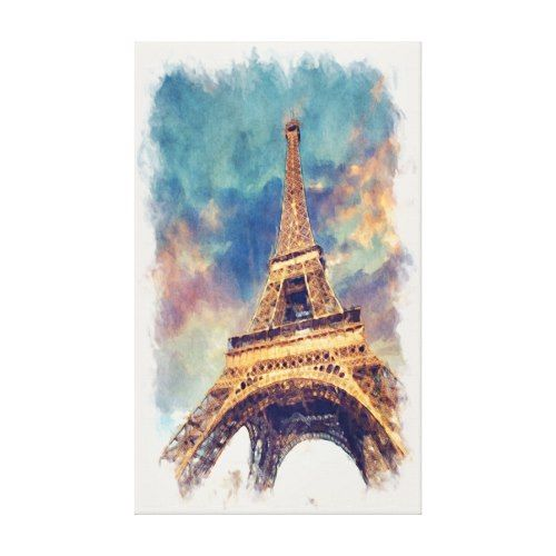 Chic Eiffel Tower Paris Pastel Watercolor Canvas Print Zazzle
