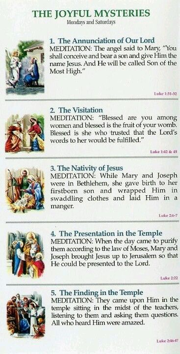 Rosary: The Joyful Mysteries ~ prayed Mondays and Saturdays
